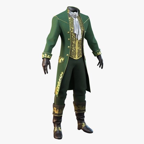 green vintage clothing men 3D model