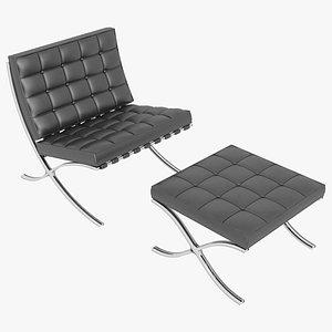 3D model Knoll Black Leather Barcelona Chair and Stool Ottoman Set