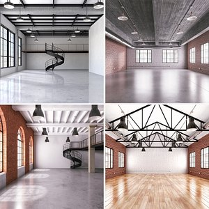 industrial office loft space 3D