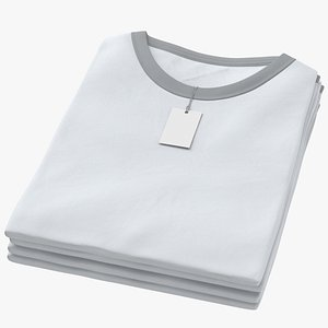 3D model Female Crew Neck Folded Stacked With Tag White and Gray 01