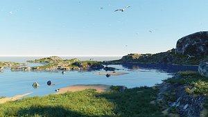 Grassy bay in Blender 3D model