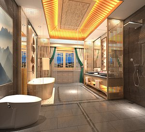 3D model Bathroom toilet toilet bathtub dry wet separation interior decoration design