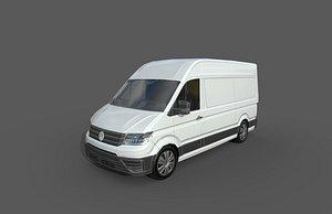3D model Low Poly Car- Volkswagen Crafter Van 2017
