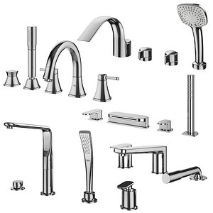 3D Mortise mixers for bathtubs Ravak and Grohe and Ideal standard set 132