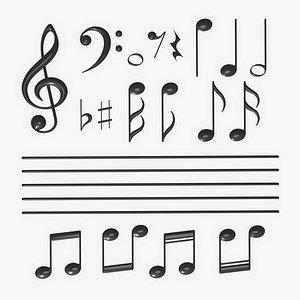 3D model notation music symbol