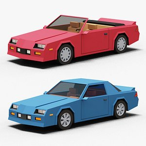 3D Stylized Cartoon Coupe and Convertible Cars 80s Low-poly model