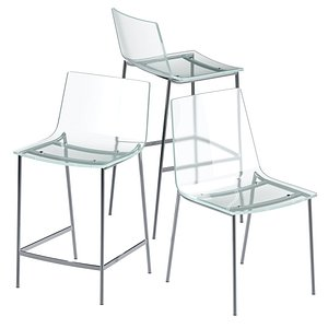 3D CB2 Chiaro Clear Acrylic Chair and Stool
