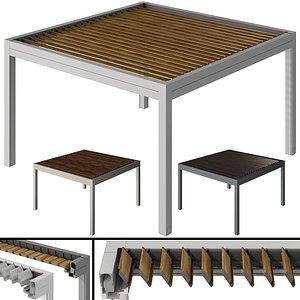 Metal pergola gazebo with roller shutters 3D model