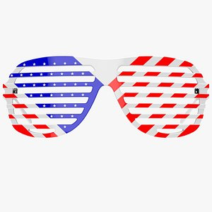 3D Shutter Shades Sunglasses with USA Flag print - Game Asset model