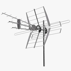 3D model Outdoor Combined VHF UHF Antenna Amplified