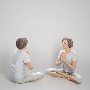 Woman in sportswear doing yoga 303 3D
