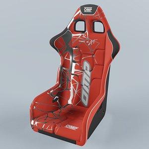 3D OMP WRC-R ART Racing Seat Red model