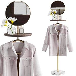 3D Pianca Contralto con specchio Valet stand
