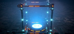 3D model Reactor AD bar package chip CPU current effects future science fiction intelligent energy block LED