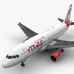AirbusA319-100AIR CANADA RougeL1387 3D model
