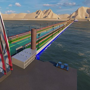 floating bridge suez canal 3D
