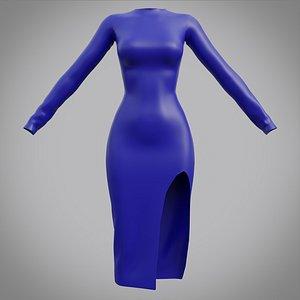 3D model Female Slit dress - 3D clothing