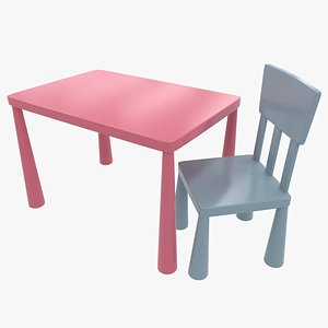 Kid Plastic Chair and Table 3D model