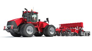 articulated tractor seed drill 3D model