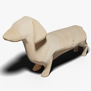 3D Dachshund Wooden model