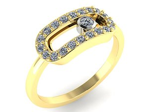 3D ring movable stones number