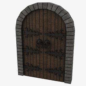 3D Medieval Door Double Venetian Style 3D Model model
