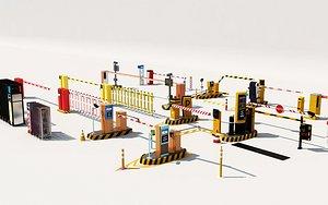 Charge bar security pavilion electric gate community entrance parking charge car stalls 3D model