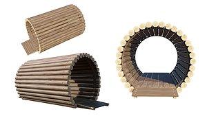 3D Playground Wooden Log Tunnel