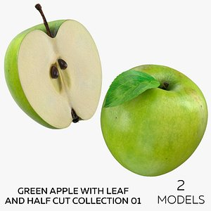 Green Apple With Leaf and Half Cut Collection 01 - 2 models model