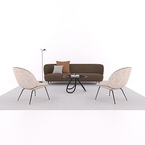 3D sofa chair table model
