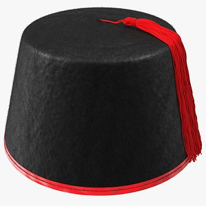 3D model traditional arabic black fez