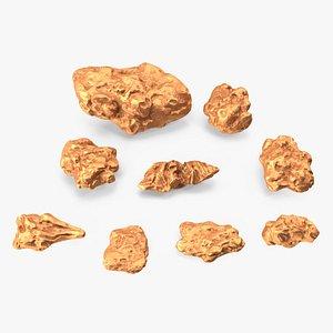 3D Copper Natural Minerals Stones Set