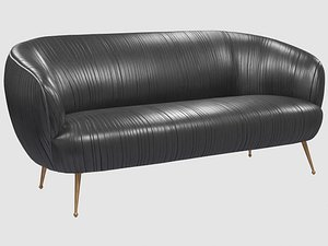 3D souffle settee ruched leather