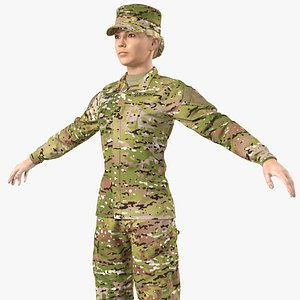 3D female soldier camouflage neutral