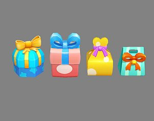 Four Cartoon gift boxes - Candy Box - Packing bag - Love box model