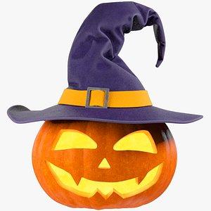 3D Halloween Pumpkin with Hat V3