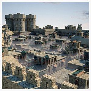 old persia nomadic town 3D
