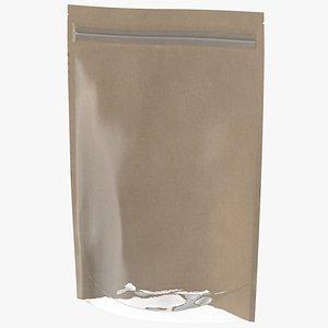 3D Zipper Kraft Paper Bag with Transparent Front 220 g Mockup model