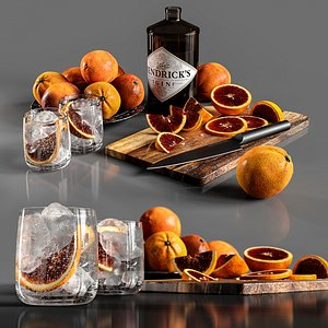 Gin with blood oranges 3D model