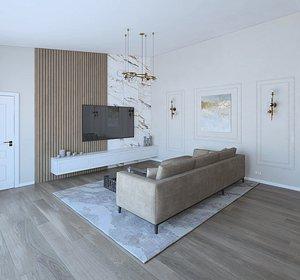 Amazing beautiful living room 3D