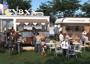 3D Fast food truck float car sales car milk tea car ice cream car sales car on the ground stand cart ro