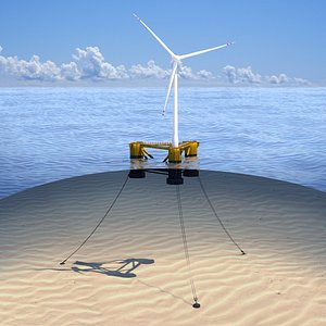 wind turbine offshore with anchors 3D model