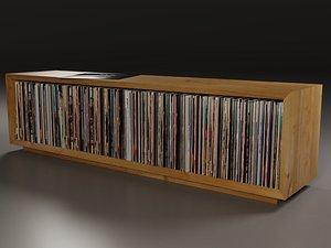 3D realistic vinyl lp storage