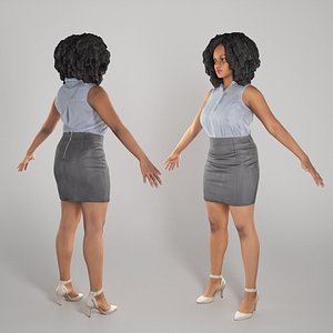 3D model Woman in shirt and leather skirt ready for rigging 281