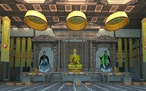 3D Taoist temple meditation worship model