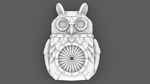 Metal Bird Owl Clock Base- 207 mm Length- Print Ready model