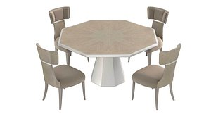 Michael Amini AICO LANTERNA Octagonal dining table and chairs 3D model