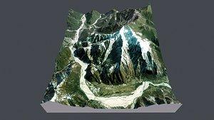 3D Mountain landscape Monte Plauris Tugliezzo Piani Liguria Italy