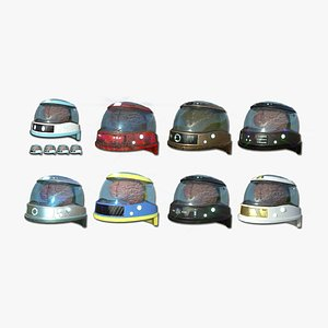 3D model 08 SciFi Brain Helmet Collection - Character Design Fashion