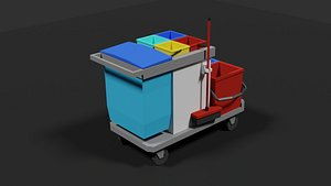 Lowpoly  Cleaning Cart 3D model